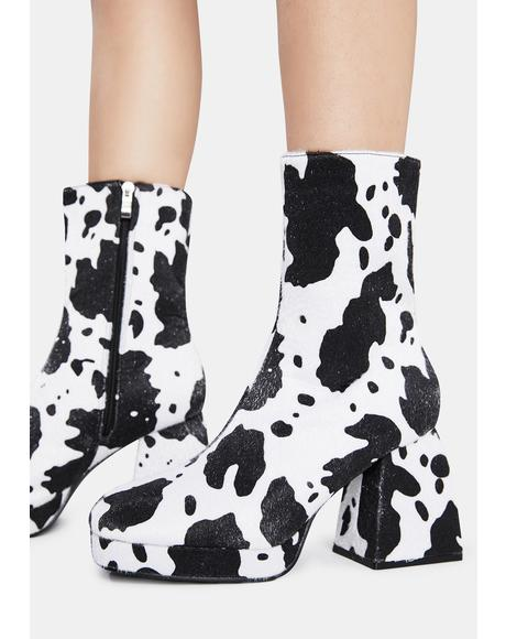 Cow Print Imagine Chunky Heel Ankle Boots