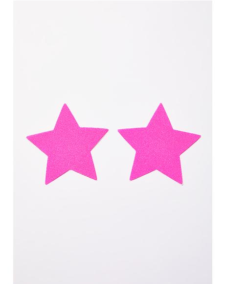 Neon Pink Day-Glow Star Pasties