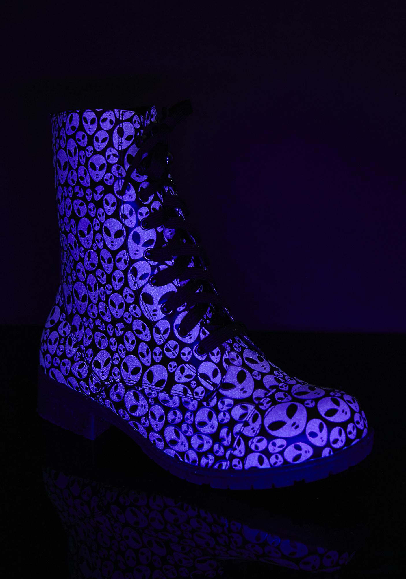 Glowin' Space Invasion Combat Boots