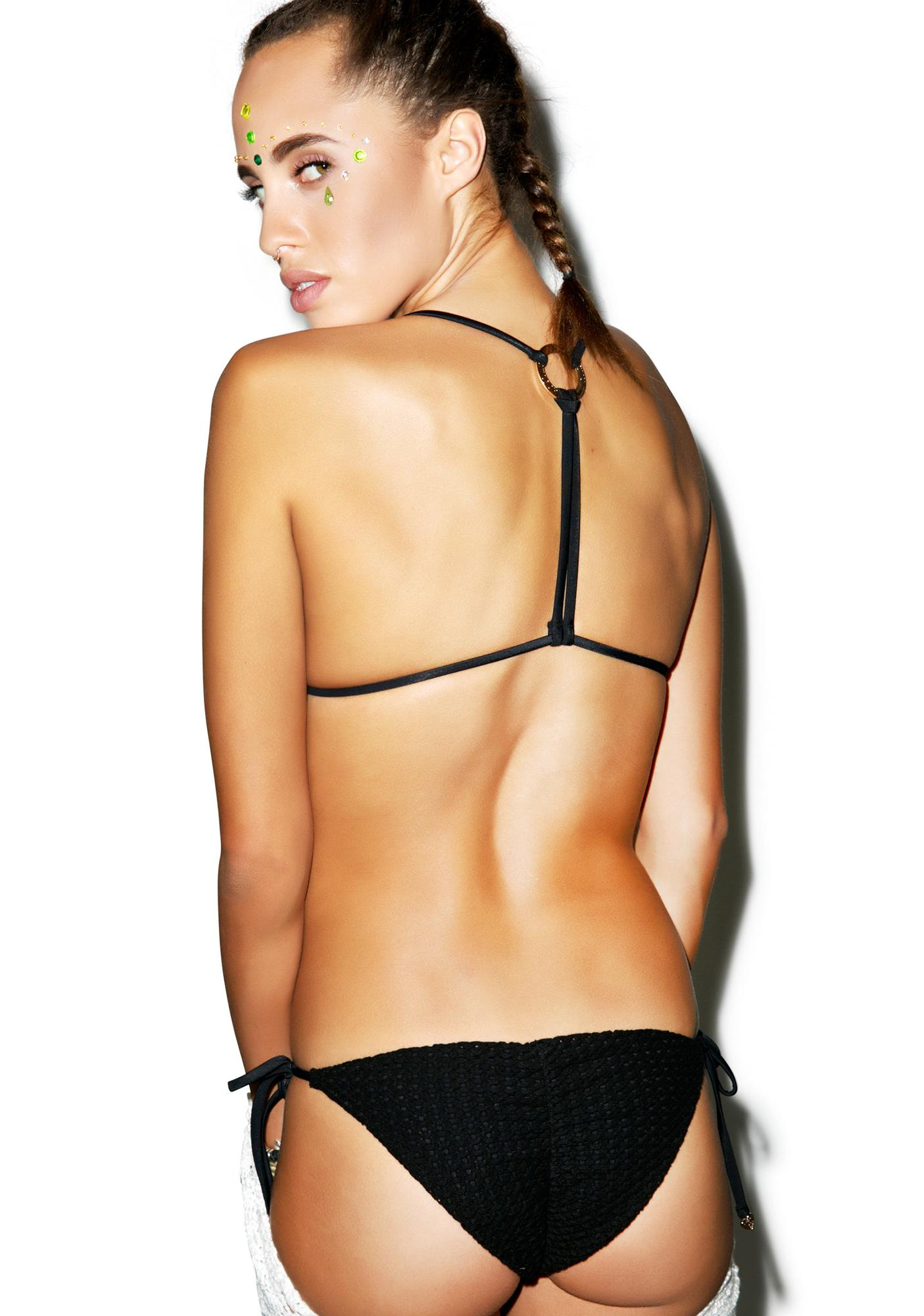 Wildfox Couture Crochet Tie-Side Brazilian Bottoms