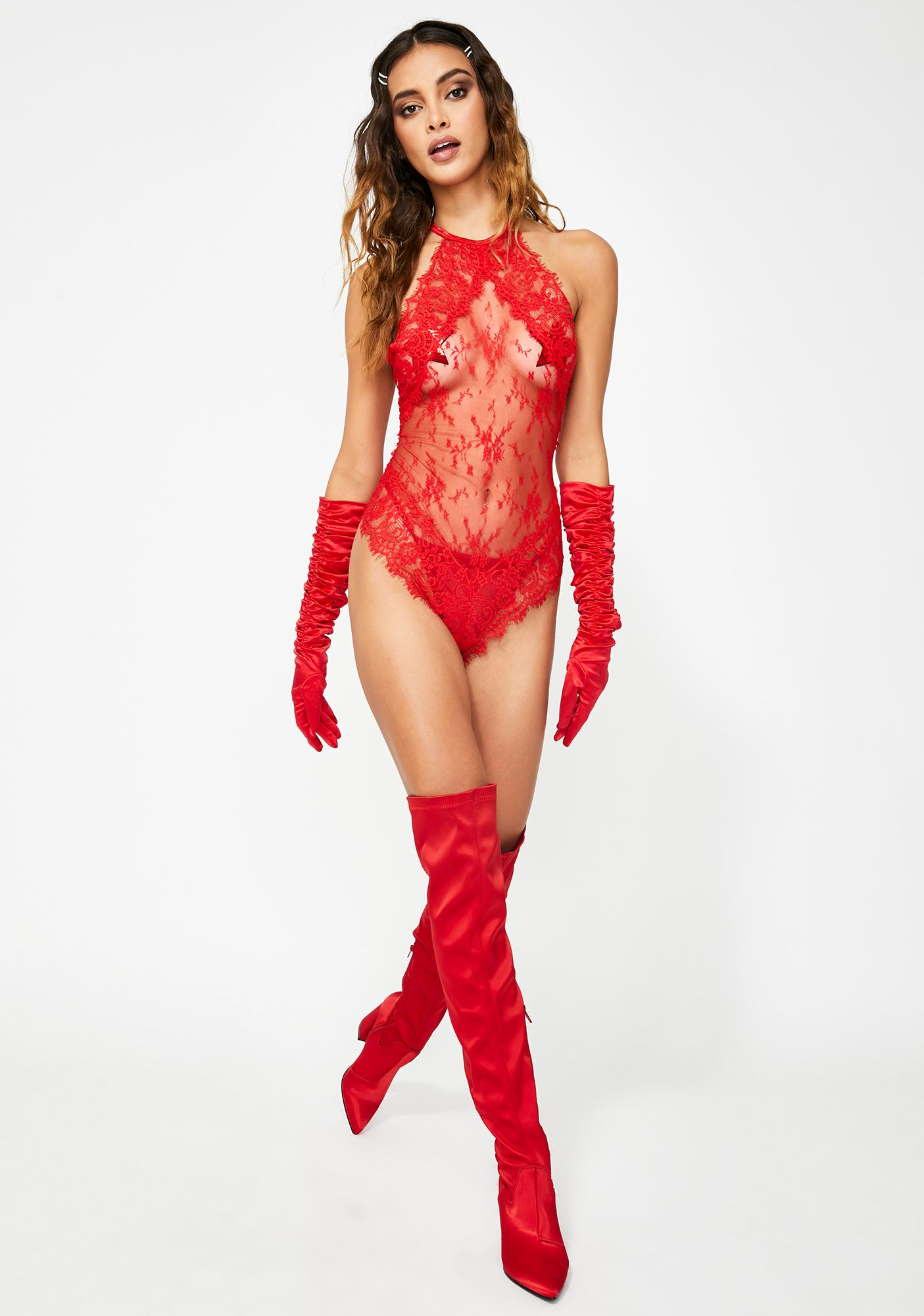 Lipstick Stains Lace Teddy