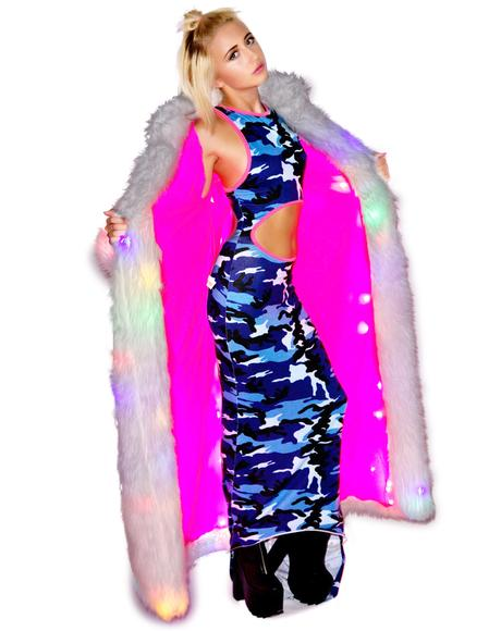 Flashing Lights Long Fur Jacket
