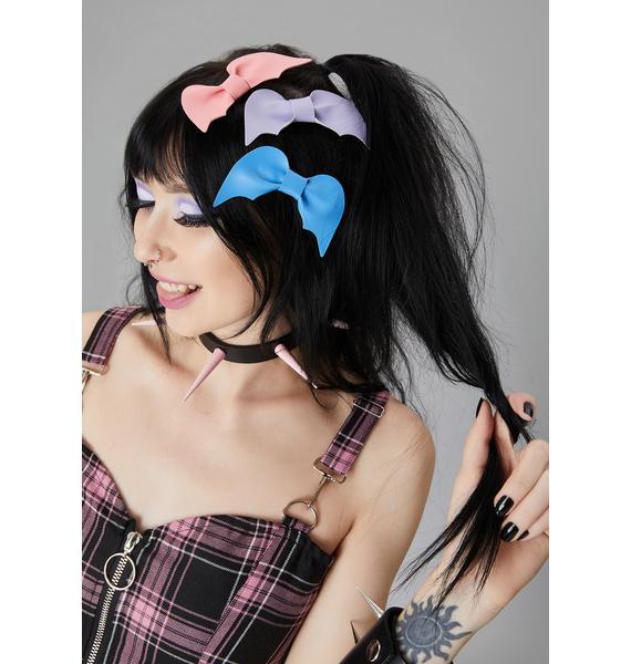 Bubblegum Hellscape Bow Hair Clips