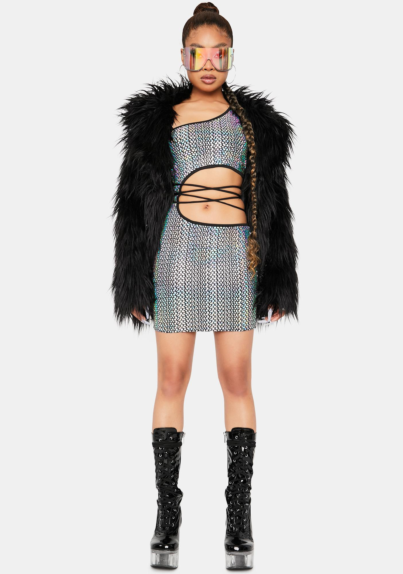 For The Thrills Holographic Cut Out Dress