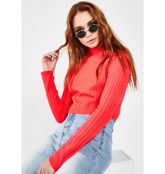 Runaway the Label Coral Trippin Crop Sweater