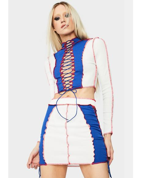 Cobalt Heat Rises Lace Up Colorblock Skirt Set