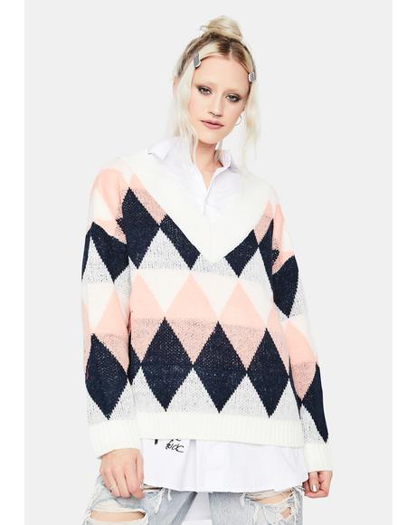 Be There Argyle V Neck Sweater
