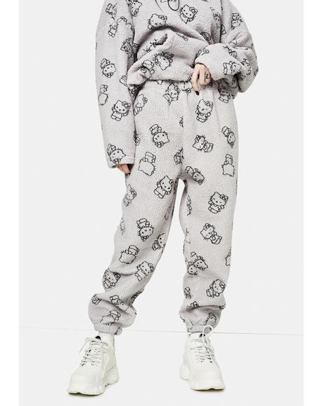 Grey Hello Kitty Printed Fleece Joggers