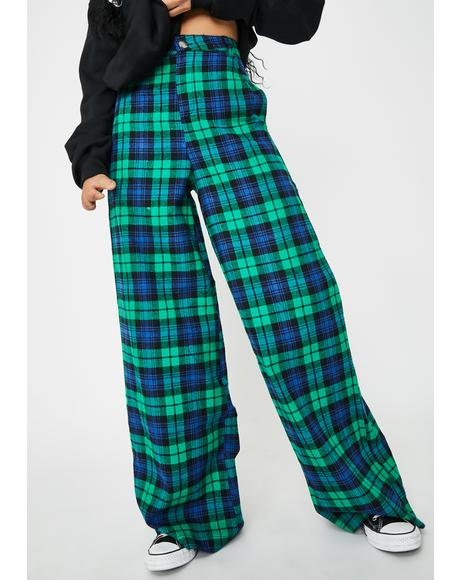 Green Checkered Print Wide Leg Pants