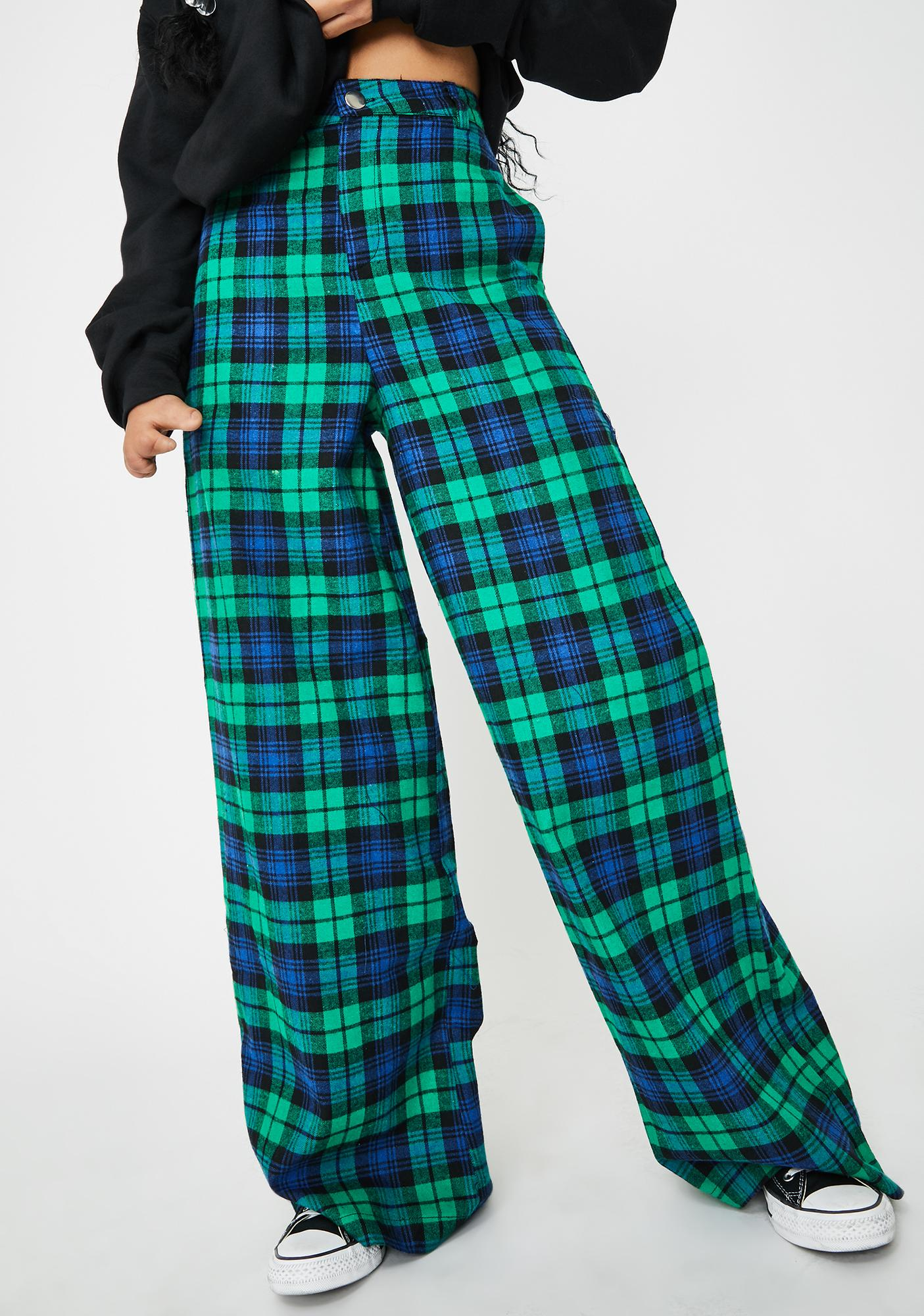 Daisy Street Green Checkered Print Wide Leg Pants