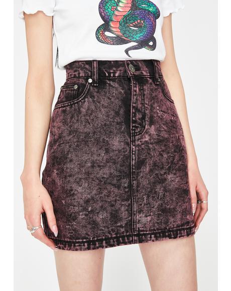 Black & Pink Acid Wash Denim Skirt