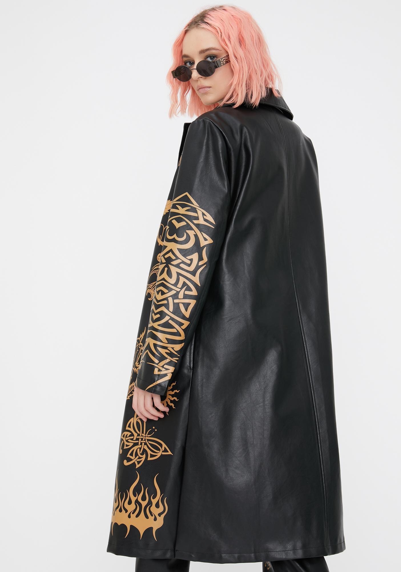 Jaded London Tan Tattoo Vegan Leather Midi Jacket