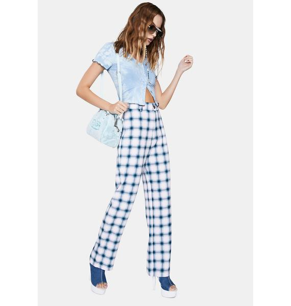 ZEMETA Culture Plaid High Waist Pants