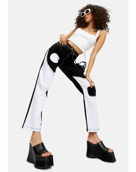 Trippy Dippy Yin Yang Patchwork Twill Pants