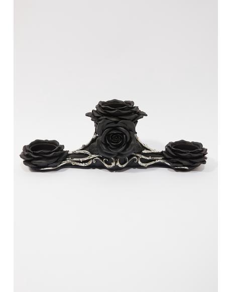 Black Rose Triple Tealight Holder