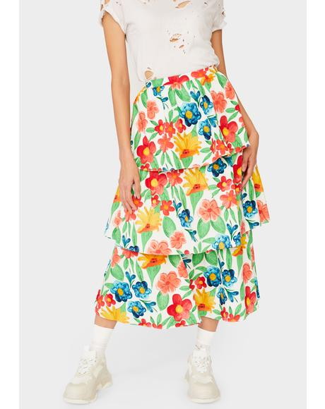 Bright Floral Midi Skirt