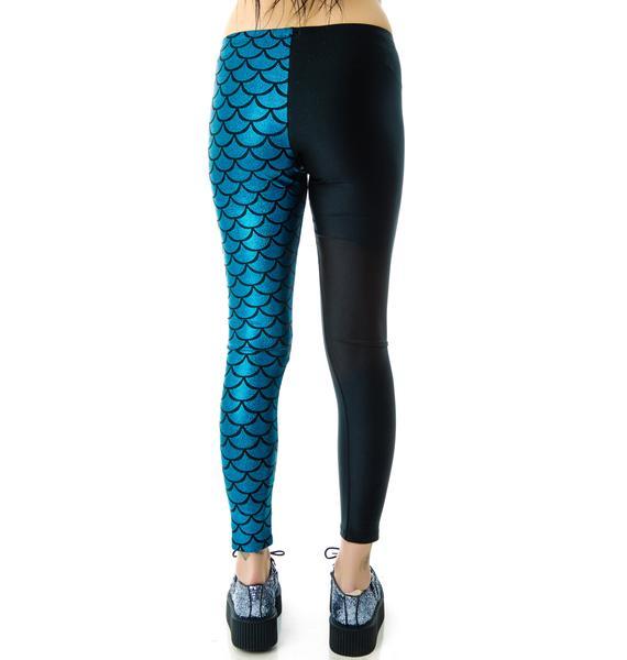Zara Terez Turquoise Half Mermaid Leggings