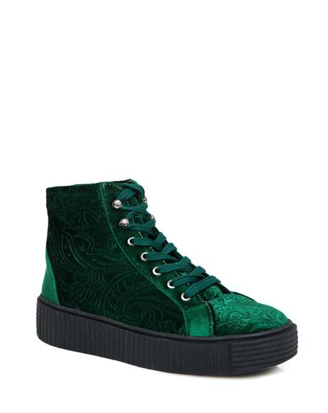 Emerald Move In Silence Velvet Creeper Sneakers
