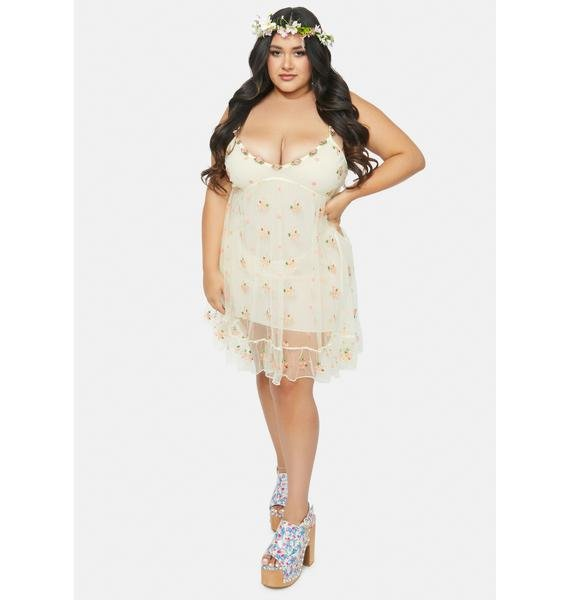 Sugar Thrillz Cream Divine Blooming Belle Slip Dress