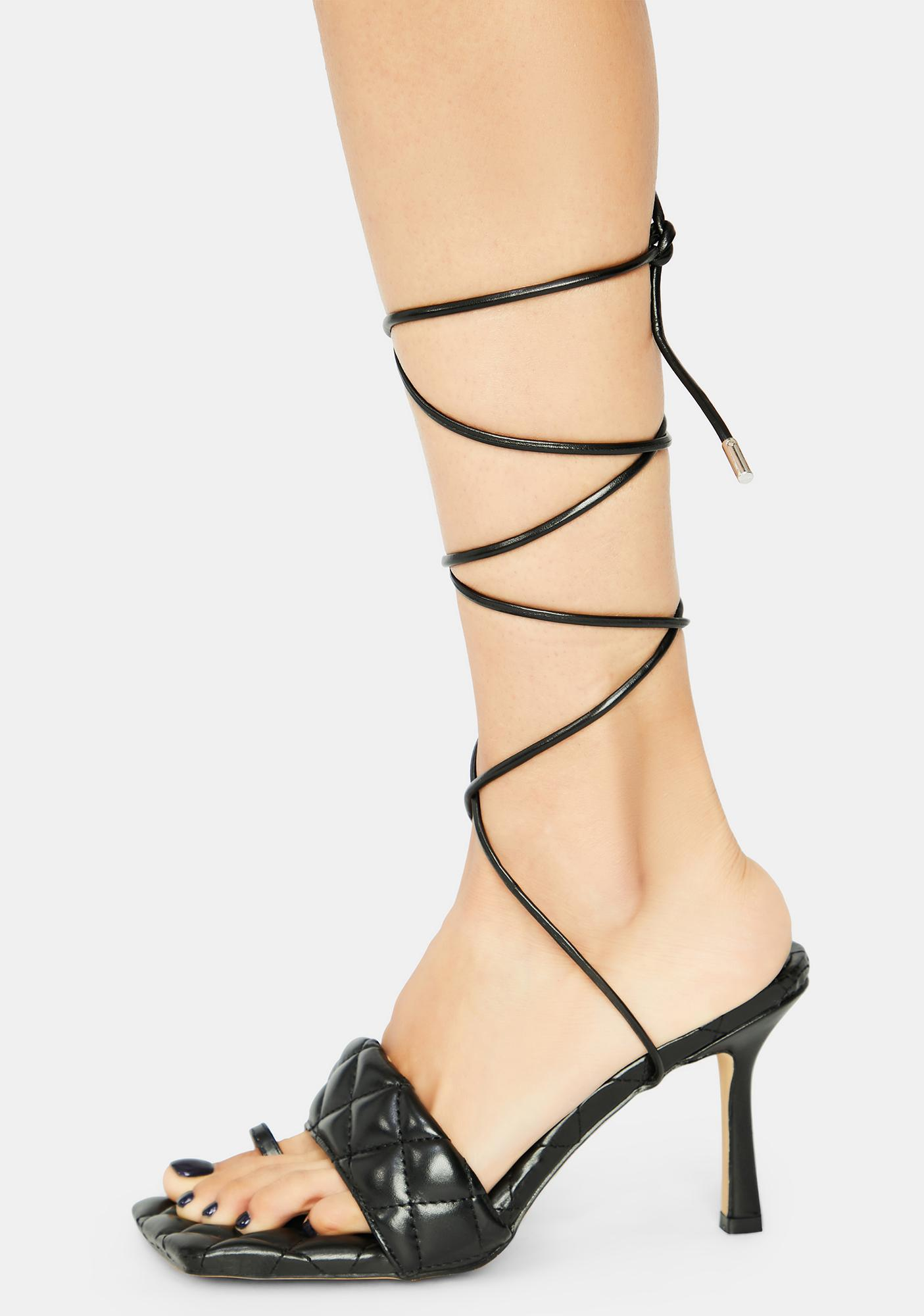 Dark Risk It All Quilted Lace Up Kitten Heels