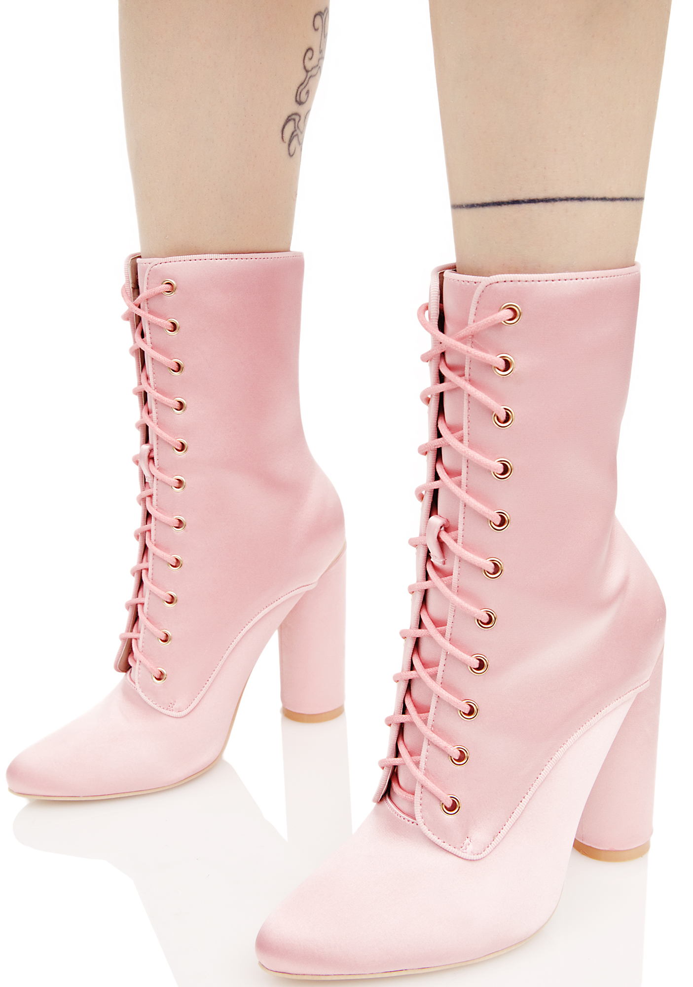 Pink Satin Lace Up Boots