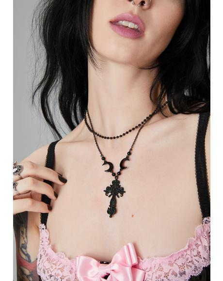 Straight To Hell Cross Necklace
