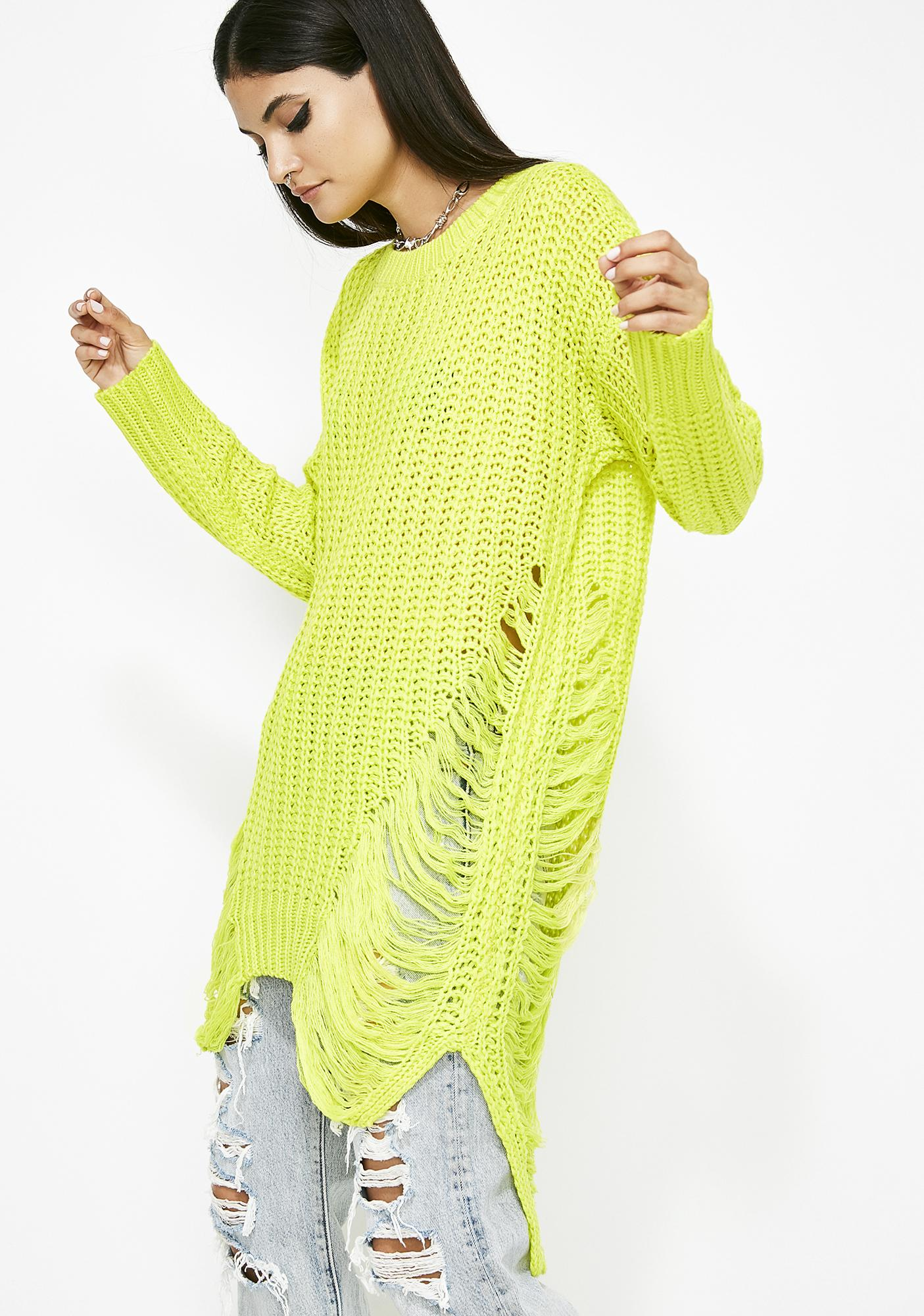 Electric Fairy Floss Distressed Sweater