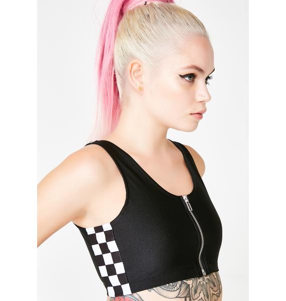 GoGuy Checkerboard Zip Crop Top