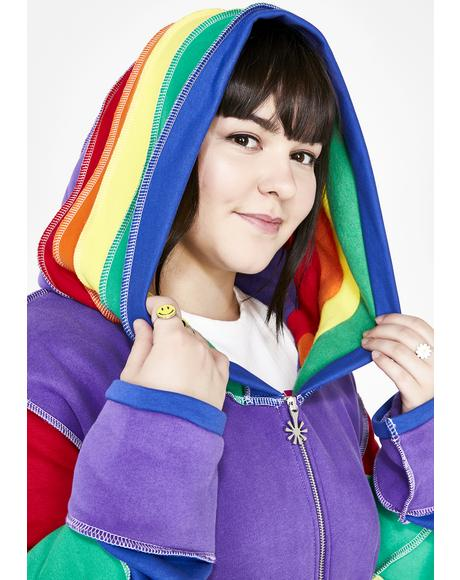 Babe In Living Color Rainbow Hoodie