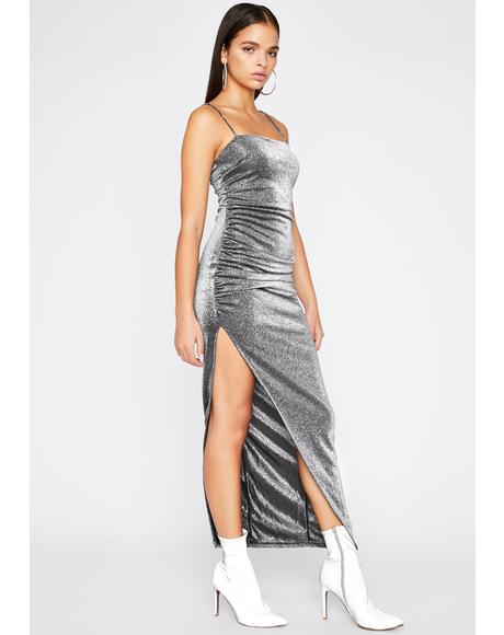 U Ain't Me Metallic Dress