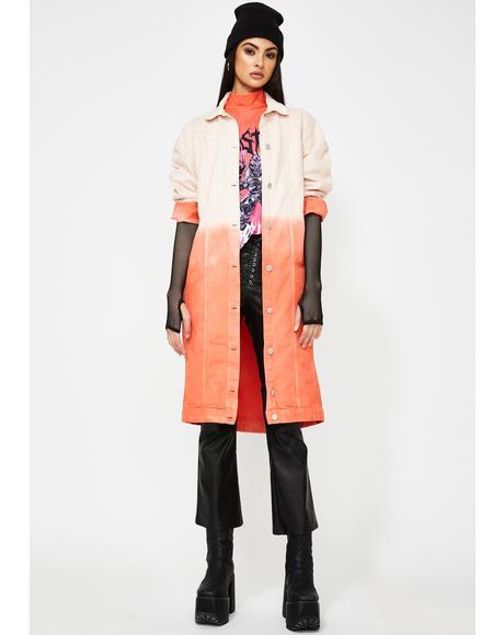 Red Ombre Oversized Denim Coat