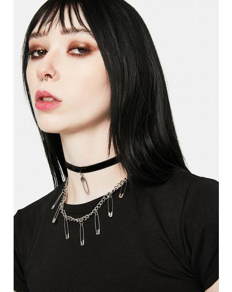 Last Warning Safety Pin Layered Necklace