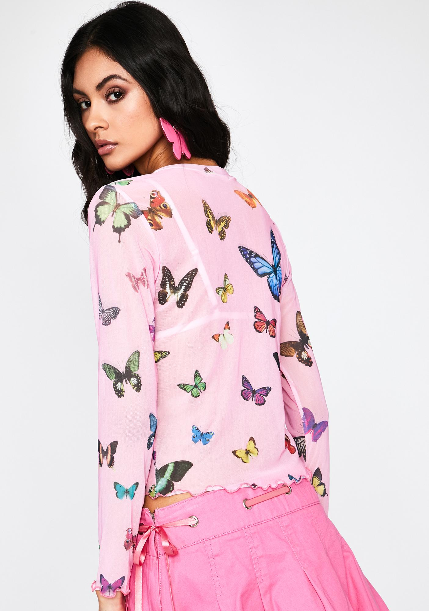 Butterfly Fly Away Mesh Top