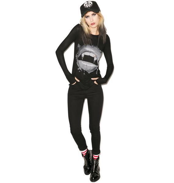 Lauren Moshi McKinley Vampy Lips Long Sleeve Tee