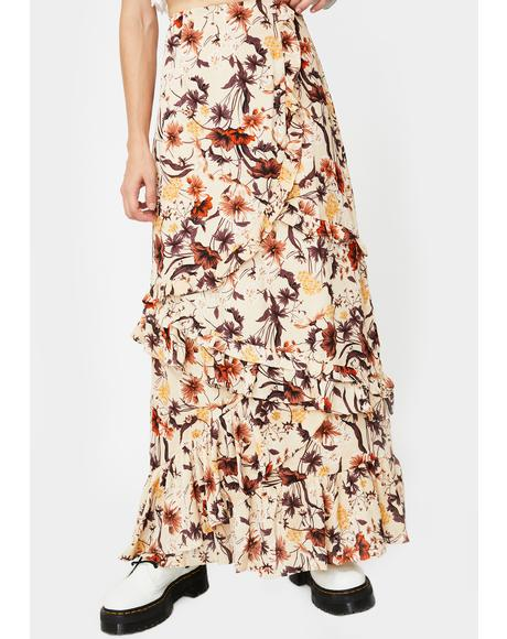 Floral Print Layered Ruffle Maxi Skirt