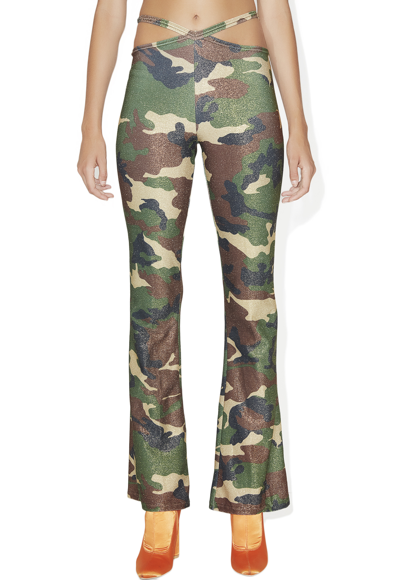 Glitter Bootcut Pants Green Camouflage
