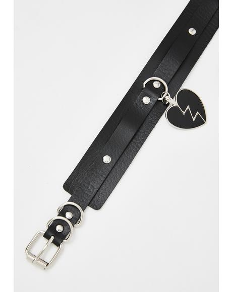Damaged Heart Vegan Leather Choker