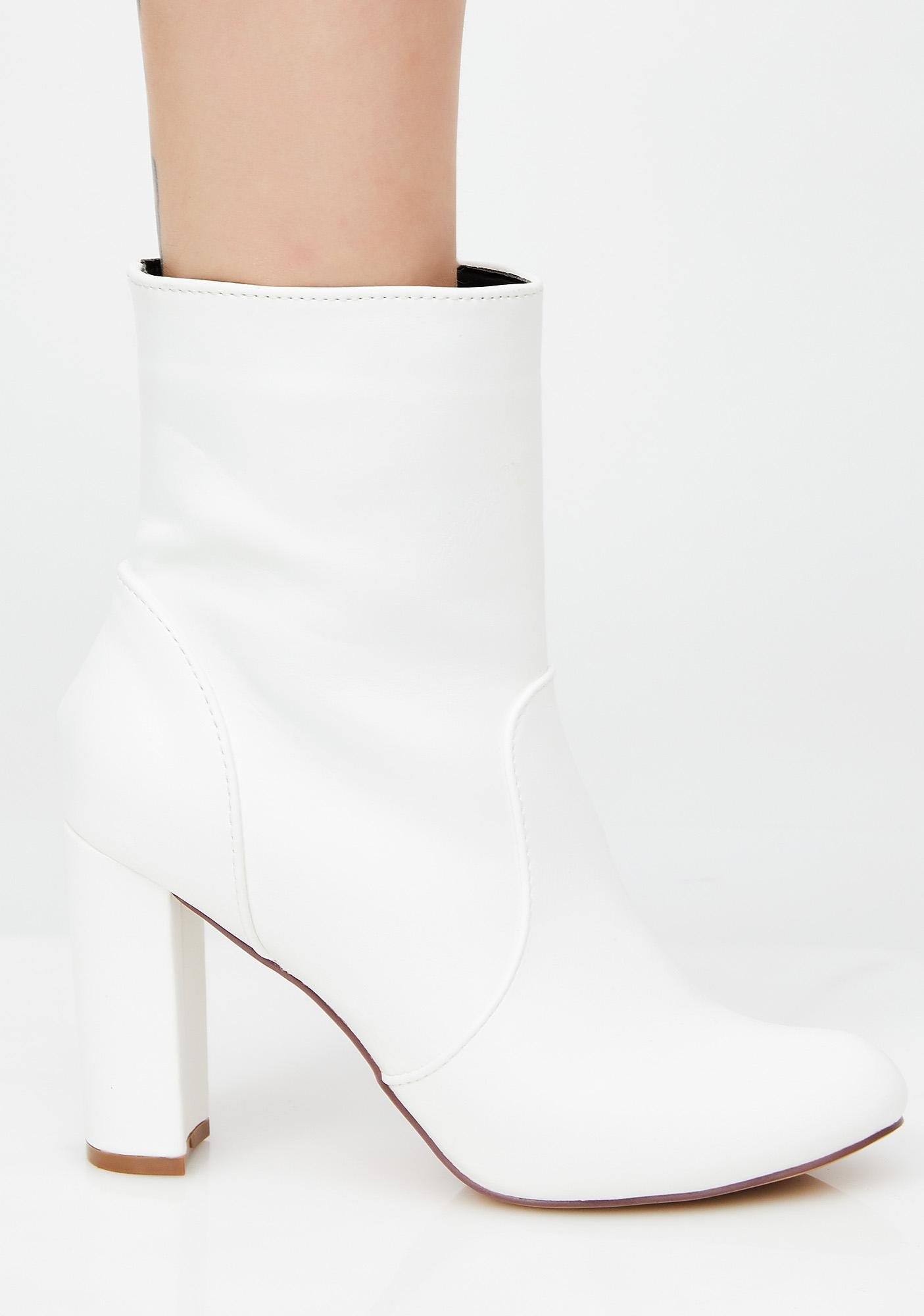 Vegan Leather White Ankle Boots Dolls Kill