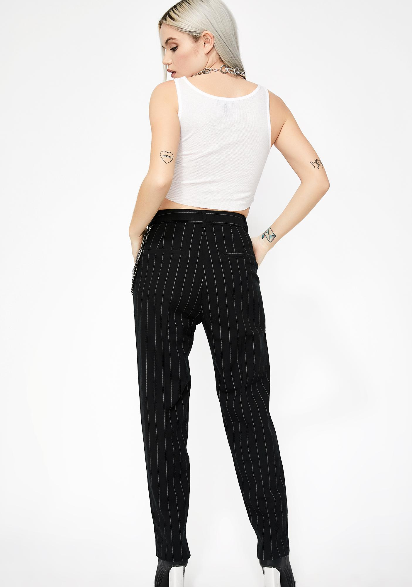 Honey Punch Back To Biz Pinstripe Trousers