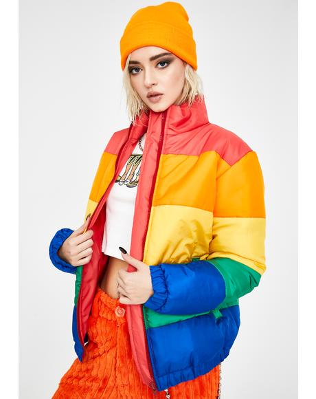 Rainbow Colorblock Puffer Jacket