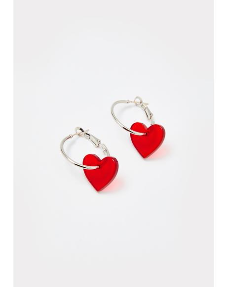 My Pleasure Heart Hoop Earrings