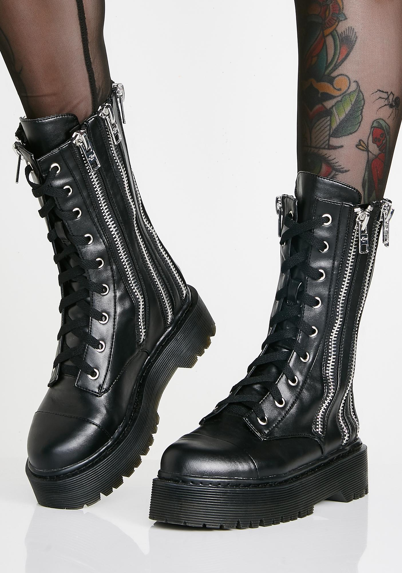 aaf2a29592992c Current Mood Don't Ask Combat Boots | Dolls Kill