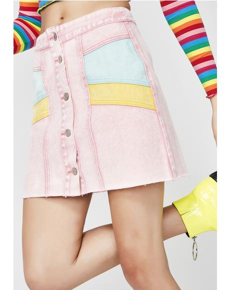 Candy Skies Denim Skirt