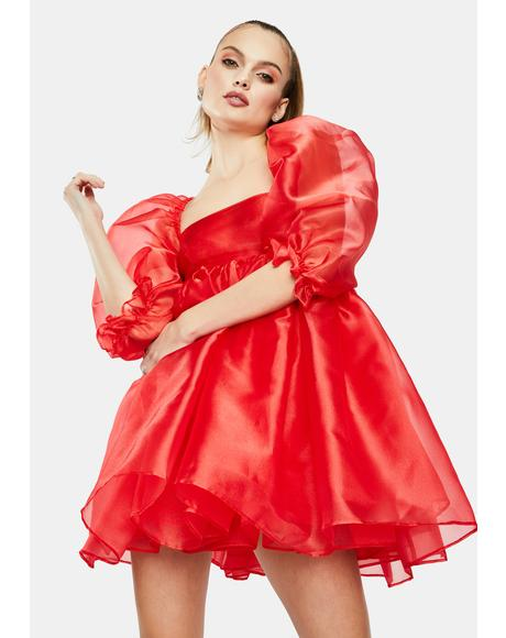 The Red Puff Babydoll Dress