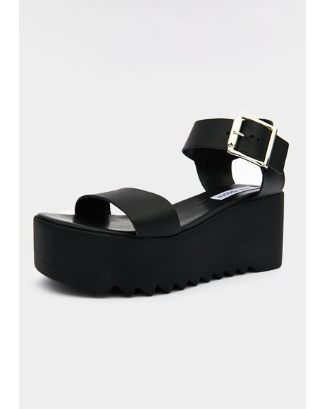Black Leather Lake Platform Sandals