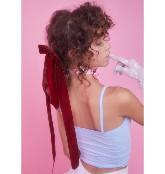 Wine Velveteen Magic Bow Hair Clip