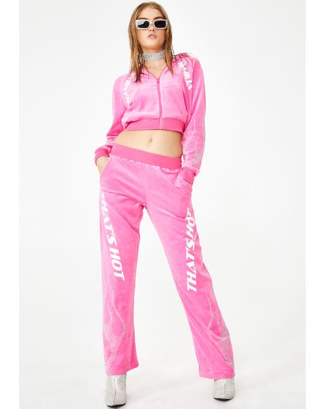 That's Hot Pink Crystal Velour Trousers