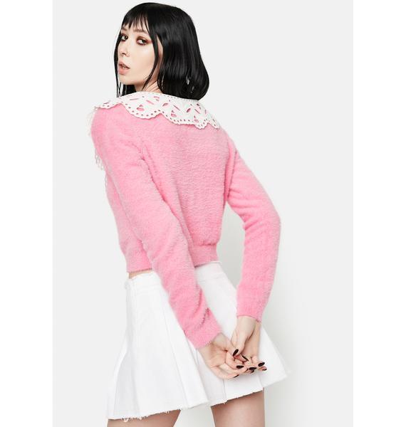 Glamorous Fuzzy Pink Cardigan With Peter Pan Collar