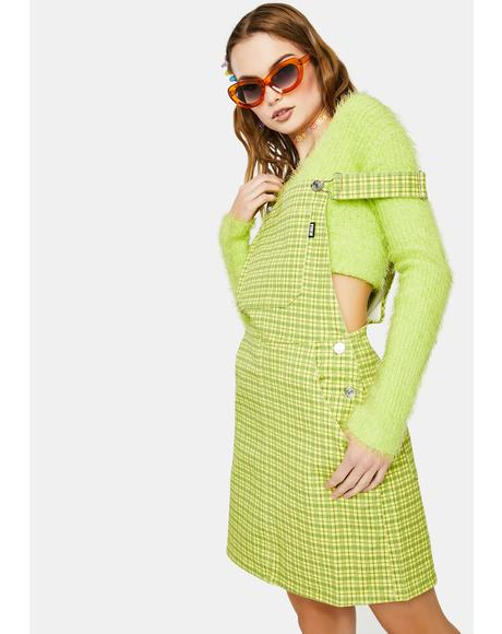 Lime Green Check Dungaree Dress