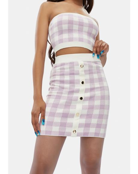 Lilac Higher Fashion Gingham Mini Skirt